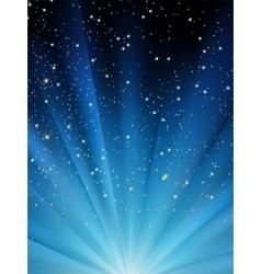 Snow falling on blue luminous rays EPS 8 vector