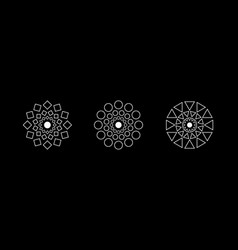 Spiritual symmetric geometry white symbol set vector