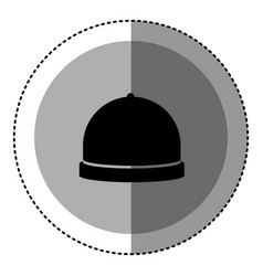 Sticker monochrome circular emblem with cloche vector