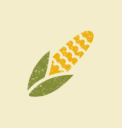 Stylized flat icon of a corn vector