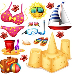Summer set with bikini and sandcastle vector