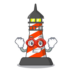 super hero cartoon realistic red lighthouse vector image