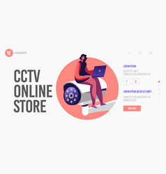 surveillance system landing page template tiny vector image
