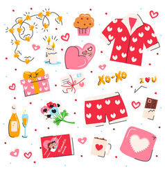 valentines day symbols set isolated on white vector image