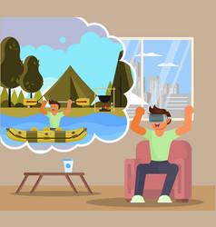Virtual reality rafting flat vector