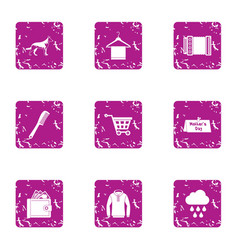 Walking cloudy icons set grunge style vector