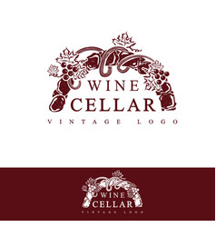 Wine cellar vintage logo design vector