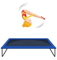 Woman athlete doing gymnastics on trampoline vector image