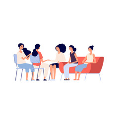 woman club group psychotherapy flat female vector image