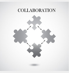 collaboration concept with four pieces of puzzle vector image vector image