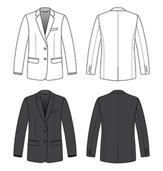 Front back and side views of blank blazer vector image vector image