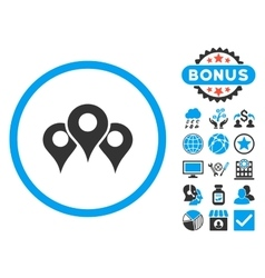 Locations Flat Icon with Bonus vector image