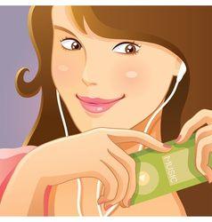 cute girl listening music vector image vector image