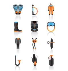 Diving equipmment icon set vector image vector image