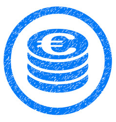 euro coin column rounded icon rubber stamp vector image vector image