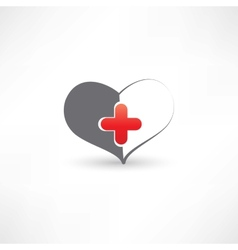 grey heart and medical cross vector image vector image