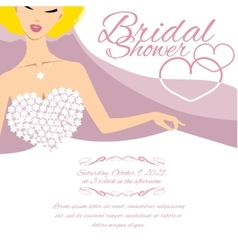 Invitation card with bride and place for text vector image