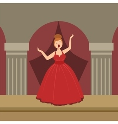 Opera Singer In Red Dress Performing On Stage vector image
