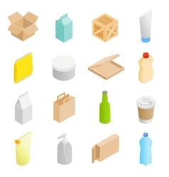 Packaging isometric 3d icons set vector image