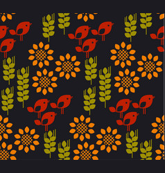 seamless pattern with sunflower floral vector image