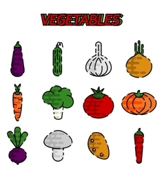 Vegetables flat icon set vector image