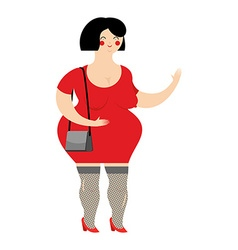 Funny fat prostitute in red dress Slut with bag on vector image
