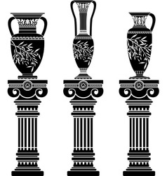 hellenic jugs with ionic columns vector image vector image