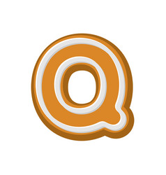 letter q gingerbread peppermint honey-cake font vector image vector image