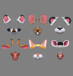 Cute animal ears and nose video effect filters vector