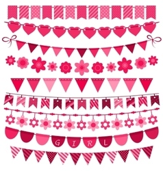 Pink bunting and garland set for girls vector image