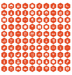 100 funny icons hexagon orange vector