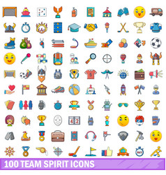 100 team spirit icons set cartoon style vector