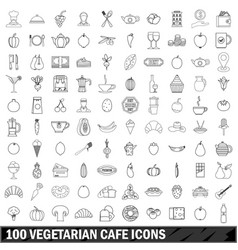 100 vegetarian cafe icons set outline style vector image