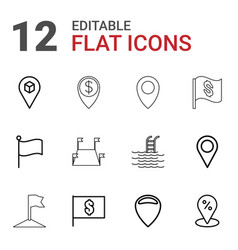 12 location icons vector image