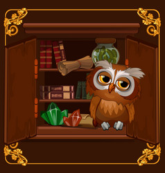 a poster with image a wise owl sitting on a vector image