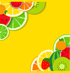 abstract mixed flat fruit background vector image