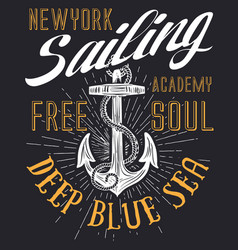 Anchor sailing academy t shirt design vector