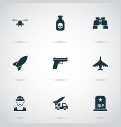 Army icons set collection of chopper weapons vector