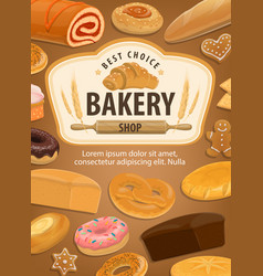Bakery house pastry food made dough vector
