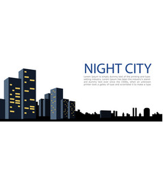 banner big city night city on white background vector image