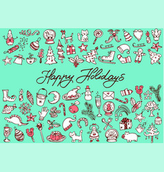 big bundle of christmas doodles vector image