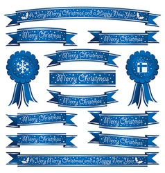 Blue christmas ribbons vector