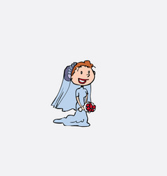bride with veil posing happy vector image