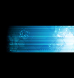 bright blue abstract technology web banner design vector image