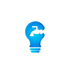 bulb and water pipe faucet plumbing idea logo vector image