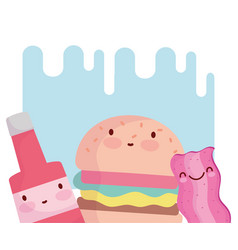 Burger bacon and sauce bottle character cartoon vector