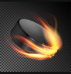 burning hockey puck burning style vector image