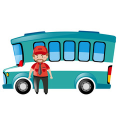 Bus driver standing by the bus vector