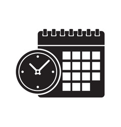 Calendar and clock icon vector