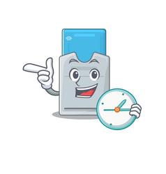 Cartoon character style key card having clock vector